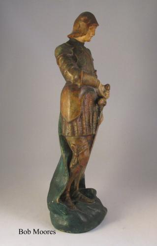 Large Compton pottery arts and crafts figure of St George c1915