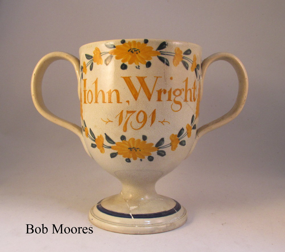 Staffordshire loving cup for John Wright 1791