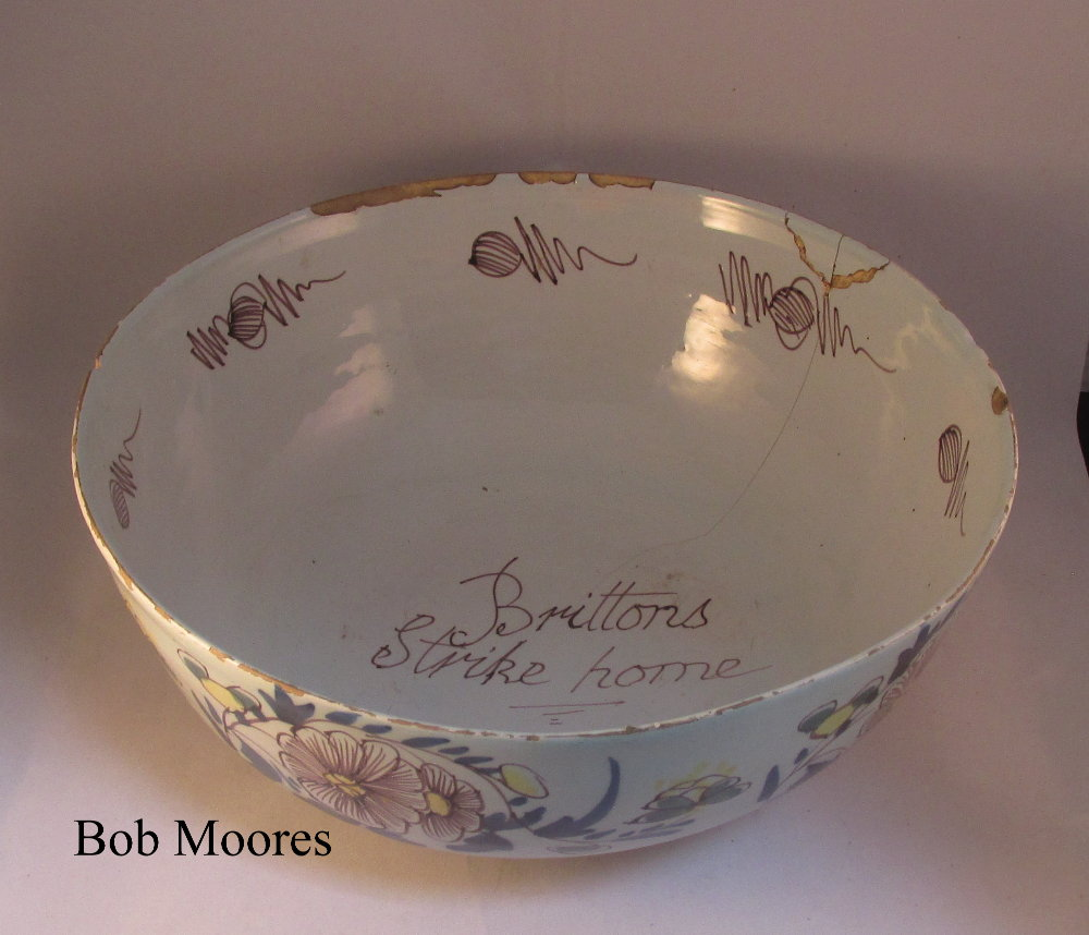 """Brittons Strike Home"" rare English Delft bowl c1750"