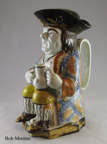 Excellent Prattware Toby jug with original cap c.1780
