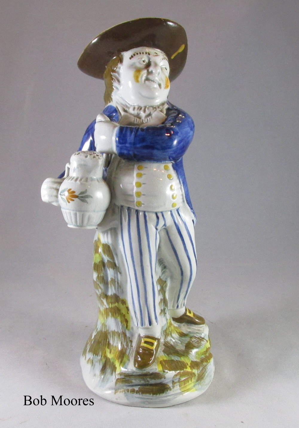 Rare mid sized prattware  Hearty Good Fellow Toby jug c.1790