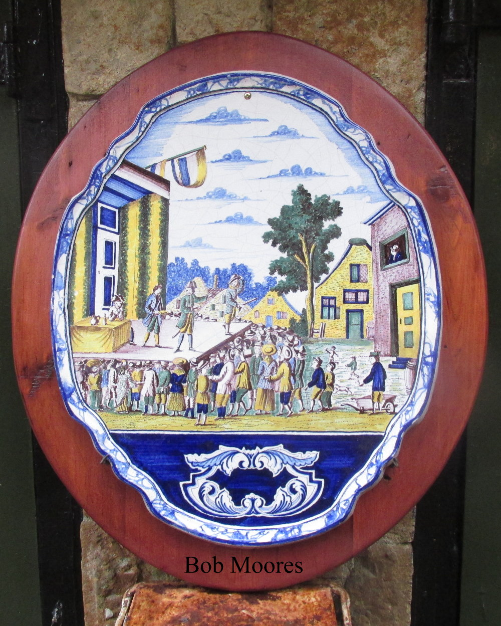 Fine and large early 19th century Makkum delft plaque.