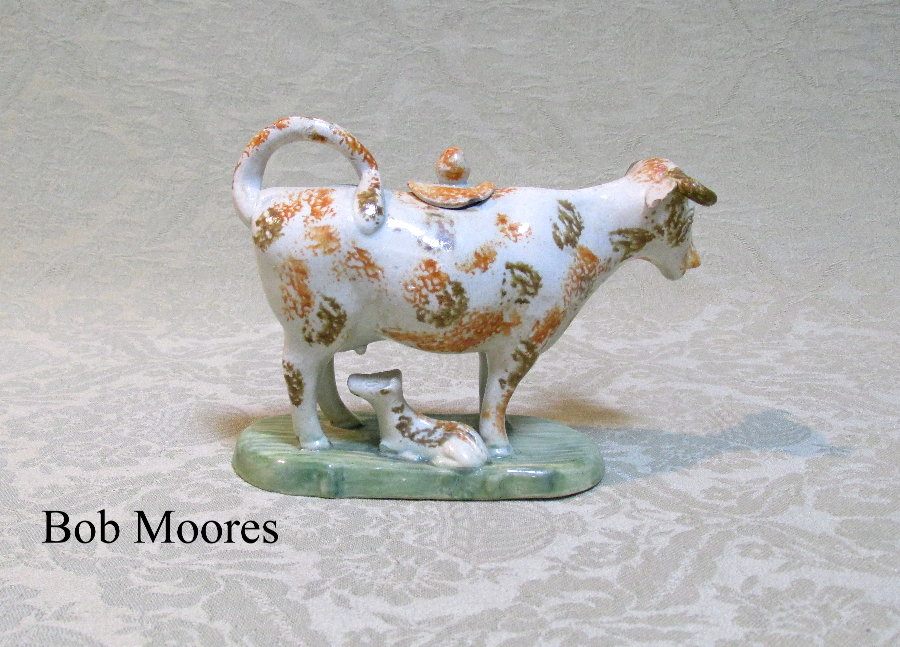 Rare miniature pearlware cow creamer with calf  Staffordshire c.1790