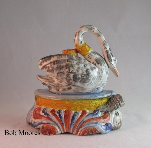 Rare pearlware Swan and Otter inkwell & quill holder Obadiah Sherratt c1800