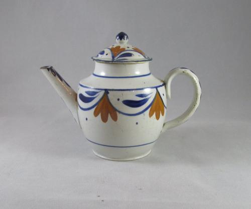 Small Prattware pearlware teapot and lid c1790