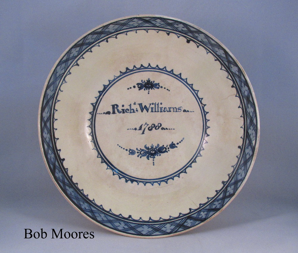 Large pearlware bowl commemorating Rich. Williams 1788