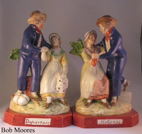Pair of pearlware groups Sailors Departure and Sailors Return c1810