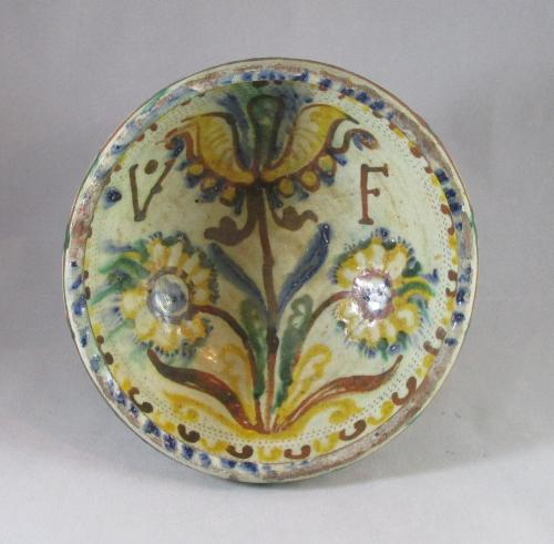 Slipware pedestal bowl with initials V F and dated 1748