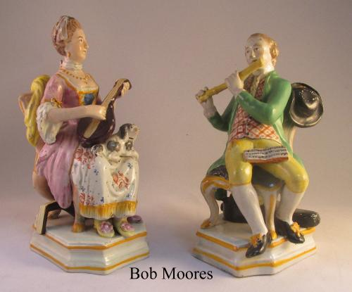 Charming pair of pearlware musicians Staffordshire c1810
