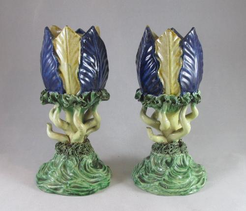 Pair of French Majolica vases c1880 and possibly Thomas Sergent