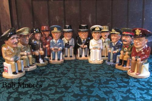 Excellent set of 12 WW11 Allied leaders Toby jugs by Wilkinsons - strictly limited to 100 sets